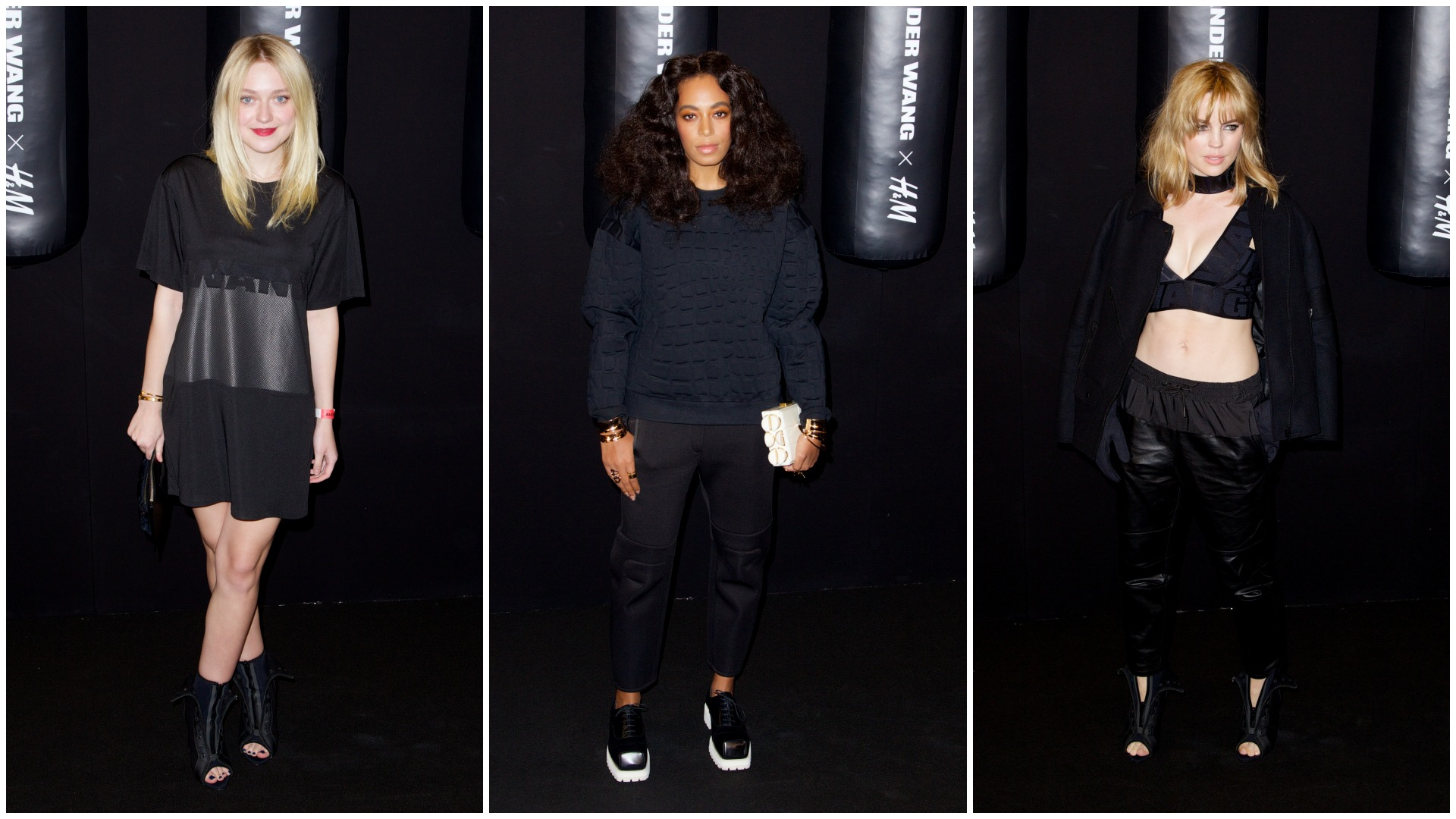 Dakota Fanning Melissa George and Solange Knowles at the Alexander Wang for H&M launch