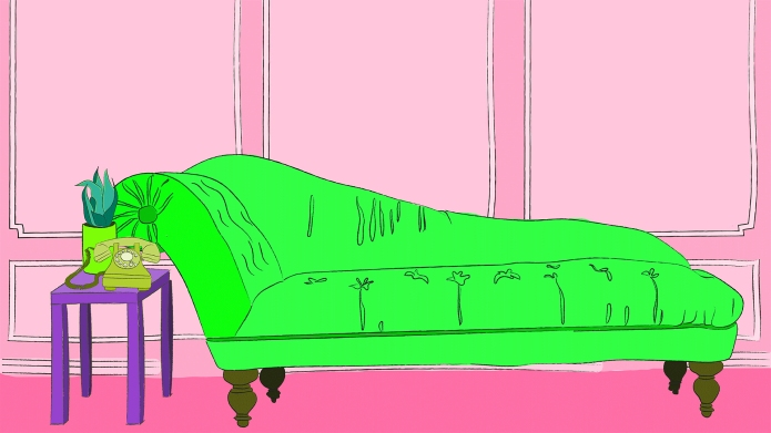 Green therapy couch in pink room