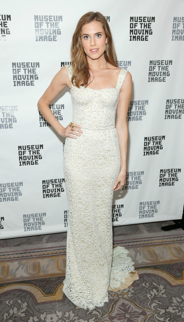 Allison Williams in bridal style evening gown