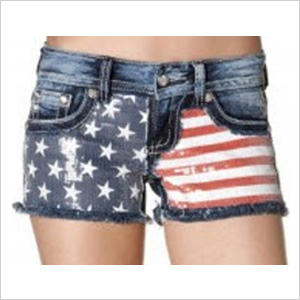 Star Flag With Studs Shorts by Missme.com
