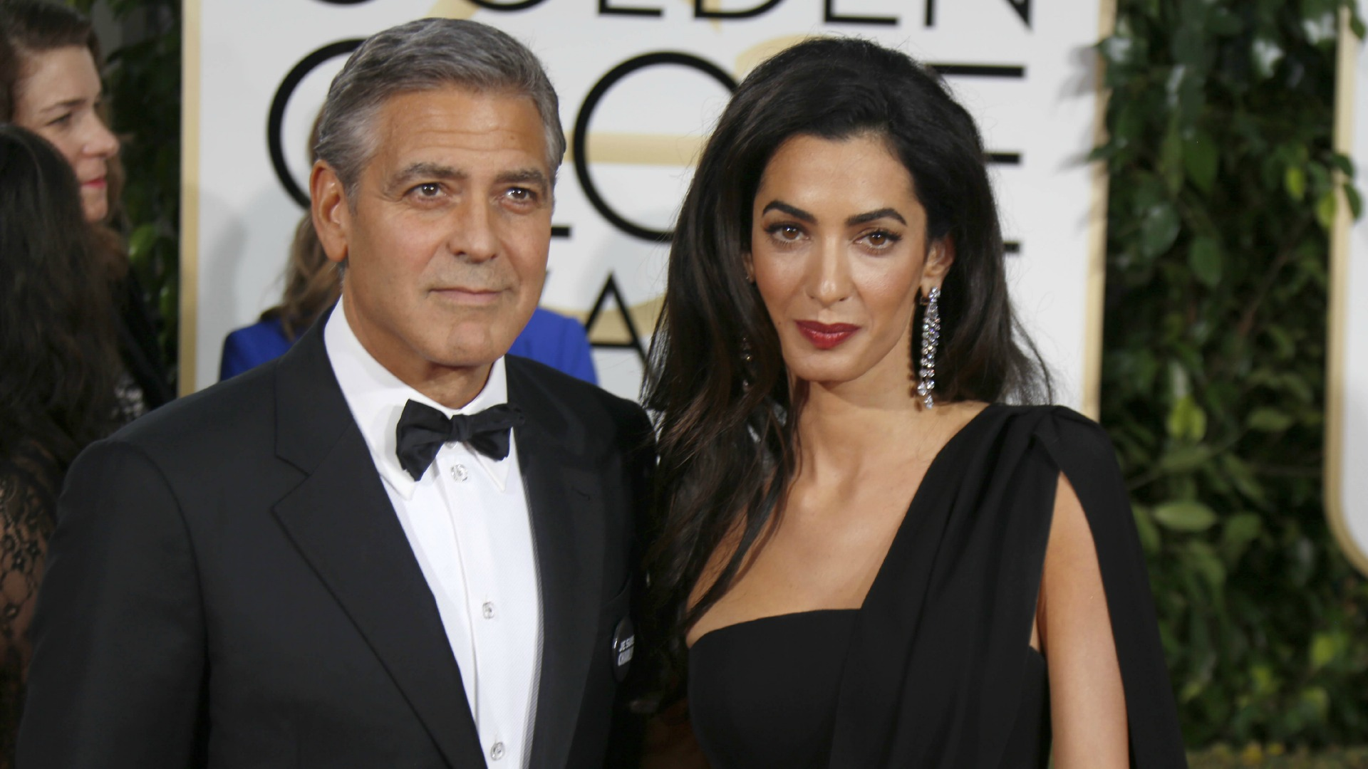 Amal and George Clooney at the Golden Globes 2015