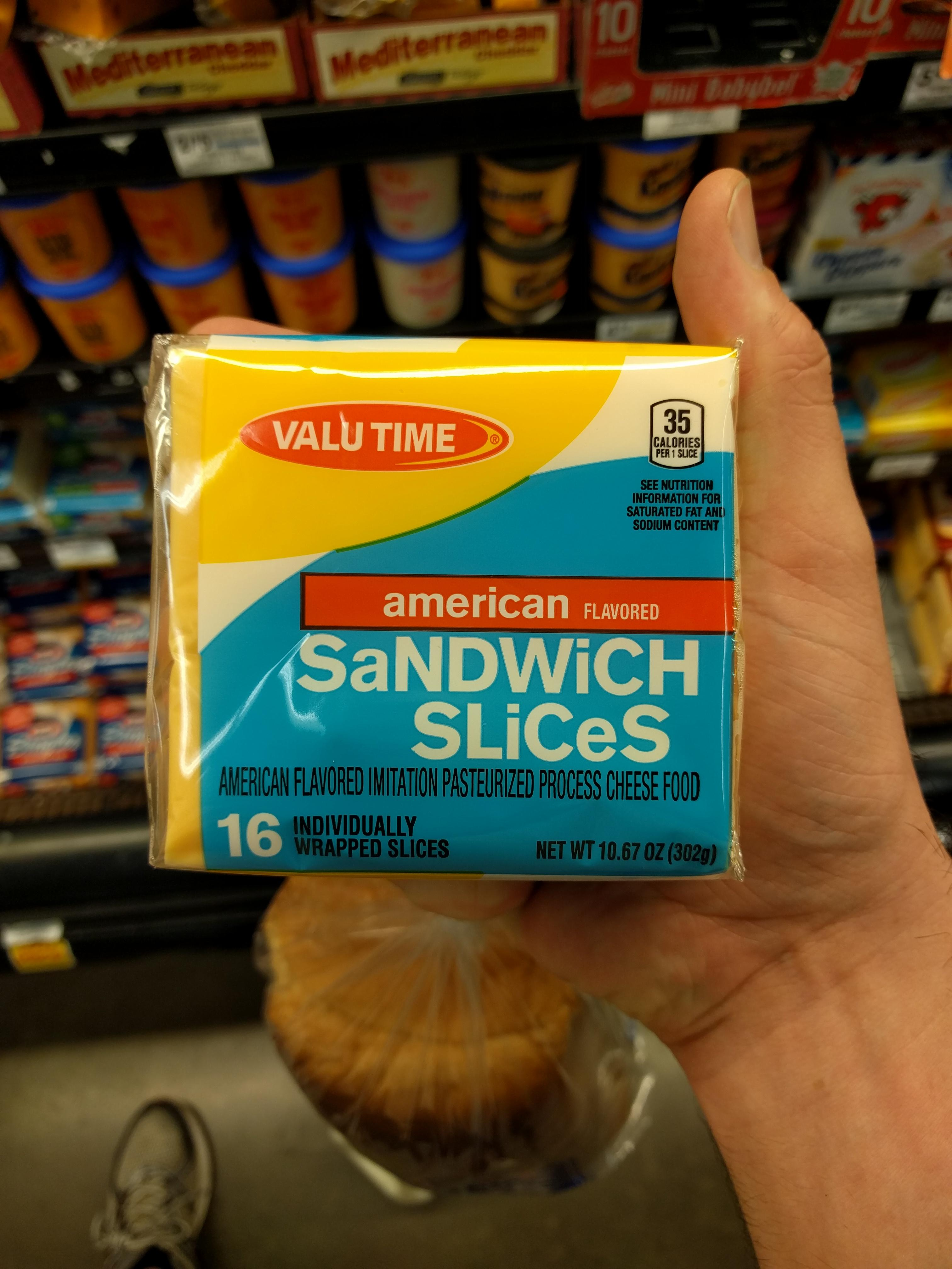 American sandwich slices