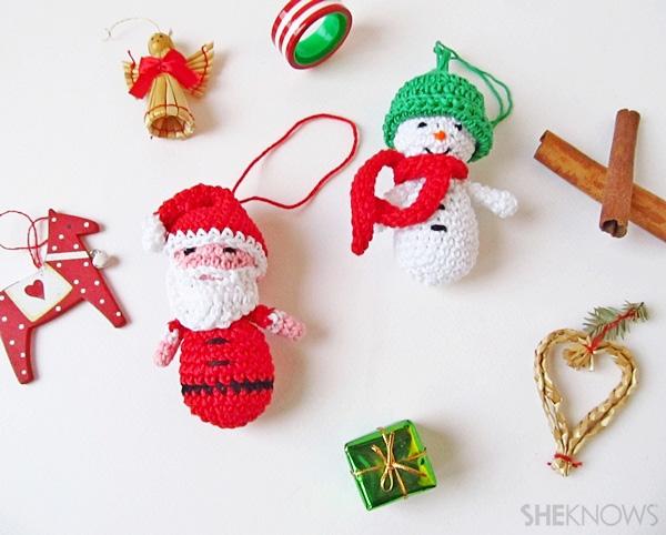 Amigurmi Santa & snowman Christmas ornaments | SheKnows.com