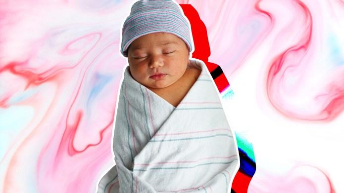 Sleeping newborn baby swaddled