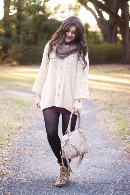 Ways to Wear an Infinity Scarf | Tan Infinity Scarf White Cardigan Sweater