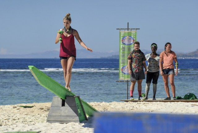 Andrea Boehlke competes in challenge on Survivor: Game Changers