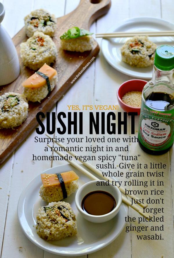"""Spicy vegan """"tuna"""" sushi"""