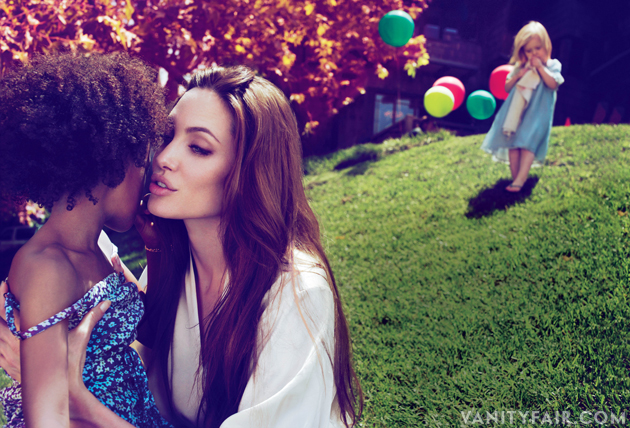 Angelina Jolie happy and beautiful in family photo in Vanity Fair