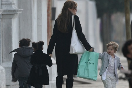 Angie and the kids take a walk