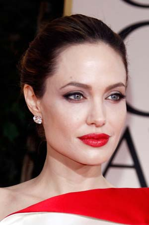 Angelina Jolie at the Golden Globes 2012