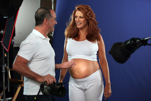 Angie Everhart, days from pregnancy, calls SheKnows and poses for Palmer's
