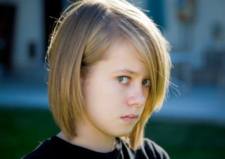 Angry tween girl