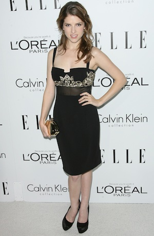 Anna Kendrick in a black dress.