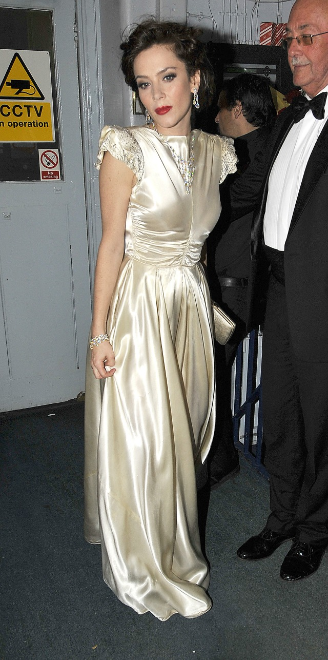 Anna Friel in bridal style evening gown