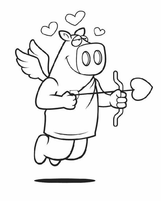 Valentine's Day Coloring Pages: Pig in love