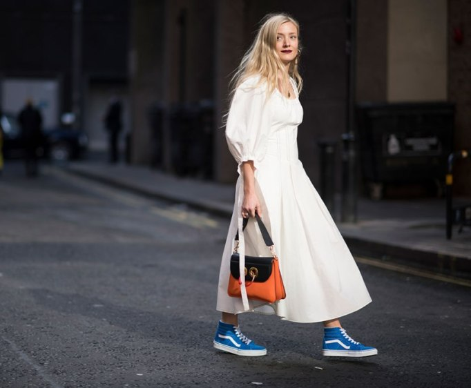Modern Pieces For Every Woman's Work Wardrobe | White dress with Blue Vans