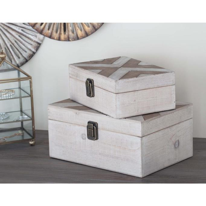 Wooden White and Brass Herringbone Boxes