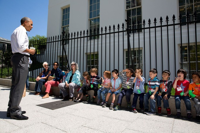 Obama and school children
