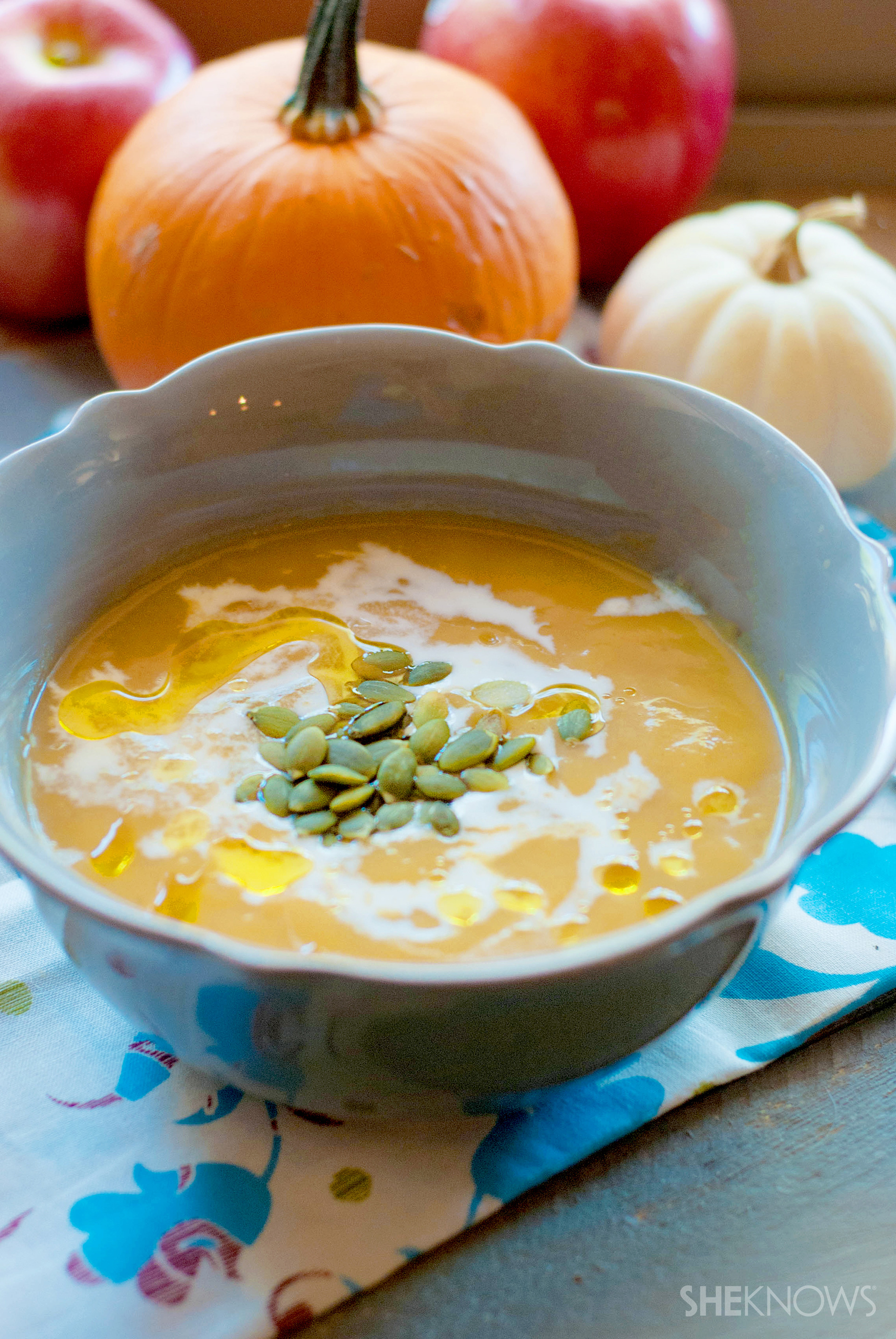 Roasted sugar pumpkin fresh apple soup recipe