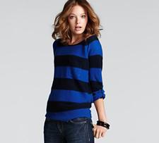 aqua cashmere striped sweater