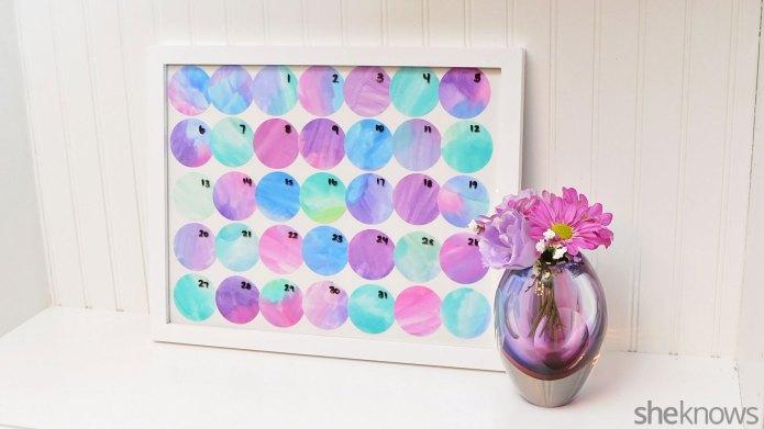 DIY watercolor perpetual calendar you can