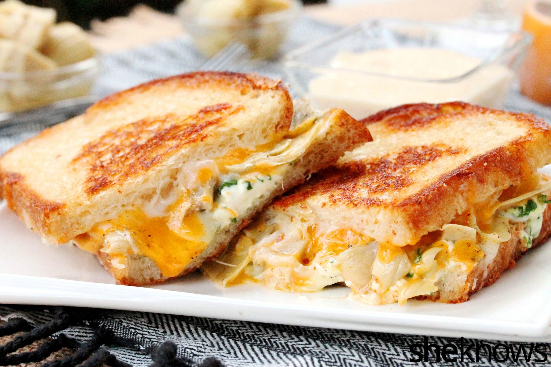 Artichoke heart grilled cheese sandwich