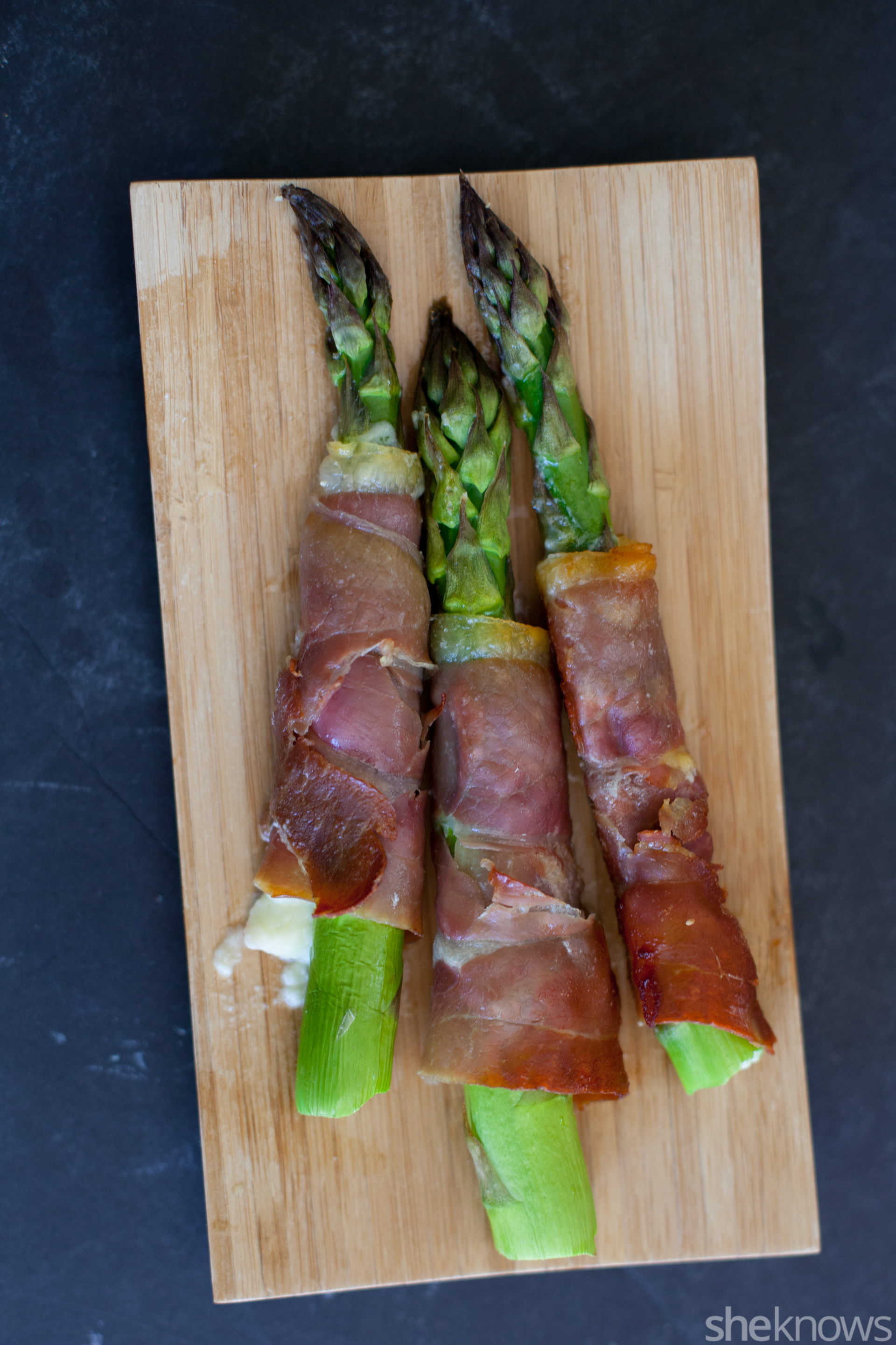 Blue cheese stuffed prosciutto wrapped asparagus