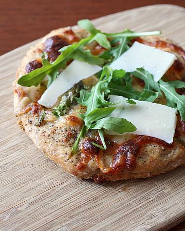 Asparagus and Parmesan pizza