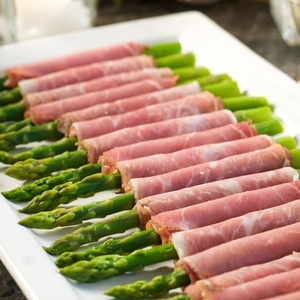 Valentine's Day asparagus wrapped in prosciutto