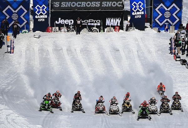 Snowmobiles line up at the 2013 Aspen X Games.