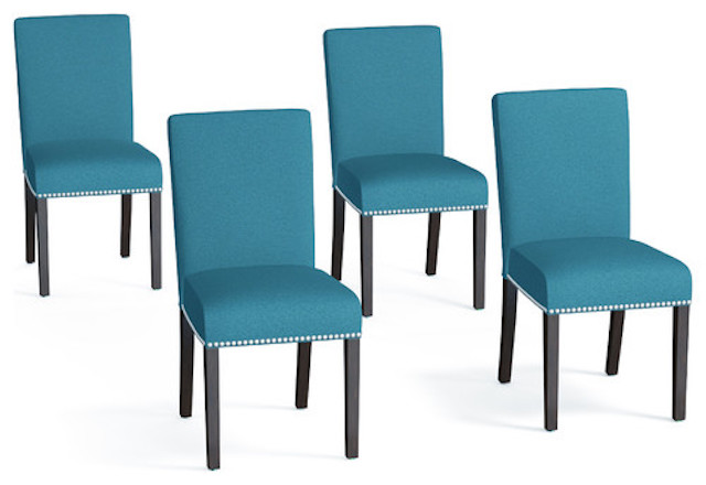 Blanca upholstered dining chairs, Caribbean blue linen
