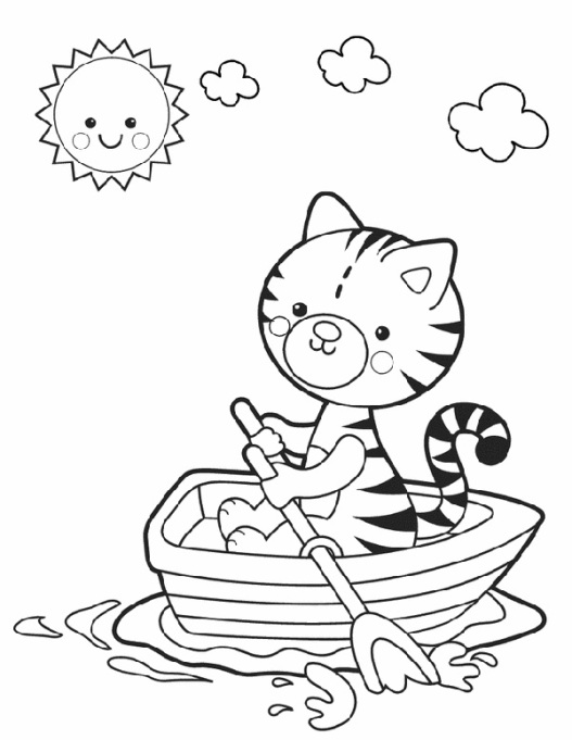 kitten on water and sun coloring page