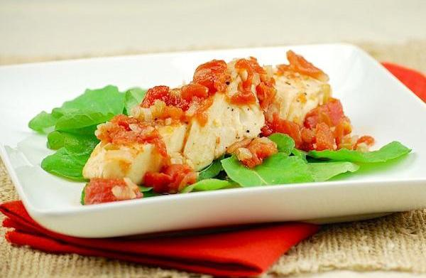 Slow cooker poached halibut in spicy
