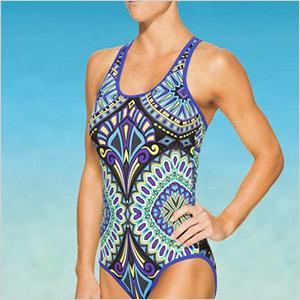 athleta bold patterned swimsuit
