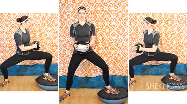 Wide legged bosu squat with a twist 1 and 3
