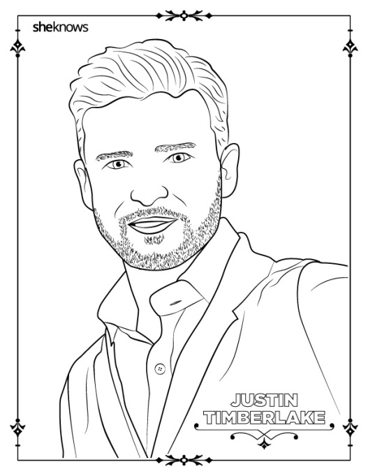 Justin Timberlake coloring book page