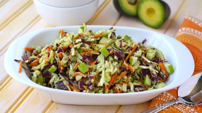Vegan coleslaw with creamy avocado dressing