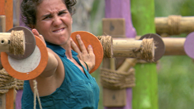 Aubry Bracco competes in challenge on Survivor: Kaoh Rong