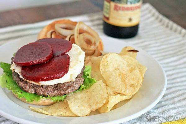 Aussie burger (with beets and fried egg)
