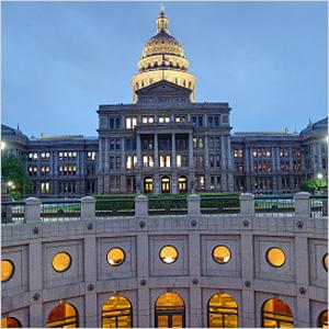 Austin Capitol building at dusk