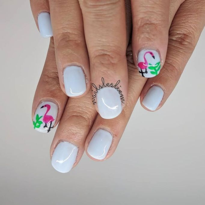 Pretty Flamingos Nail Art