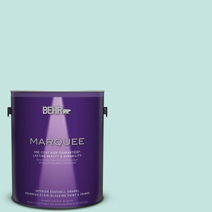 Behr Marquee Misty Isle One-Coat Hide Eggshell Enamel Interior Paint