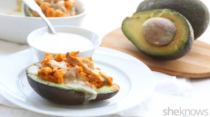 Buffalo chicken-stuffed avocados satisfy your wing