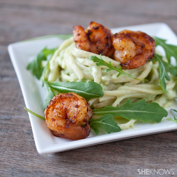 Avocado Alfredo pasta with spicy shrimp recipe