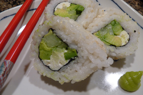Avocado, cream cheese and cucumber sushi