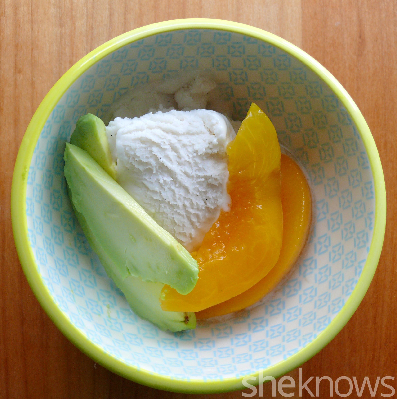 avocado ice cream and peaches
