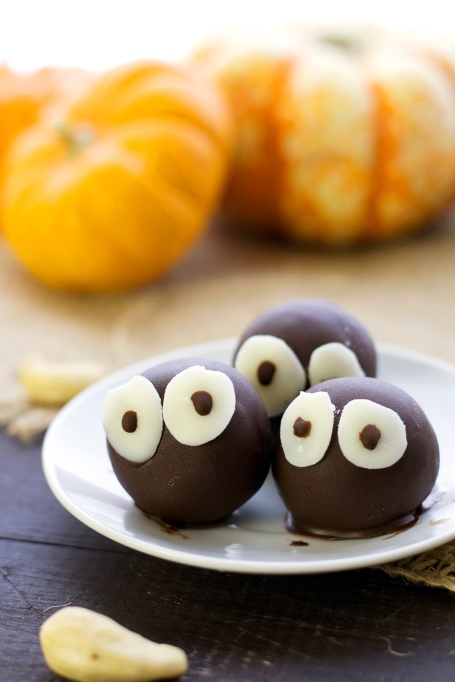Cute Halloween Treats: Creamy pumpkin spice truffles stare you down as you eat every last one