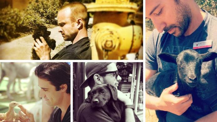 Hot guys with baby animals, just