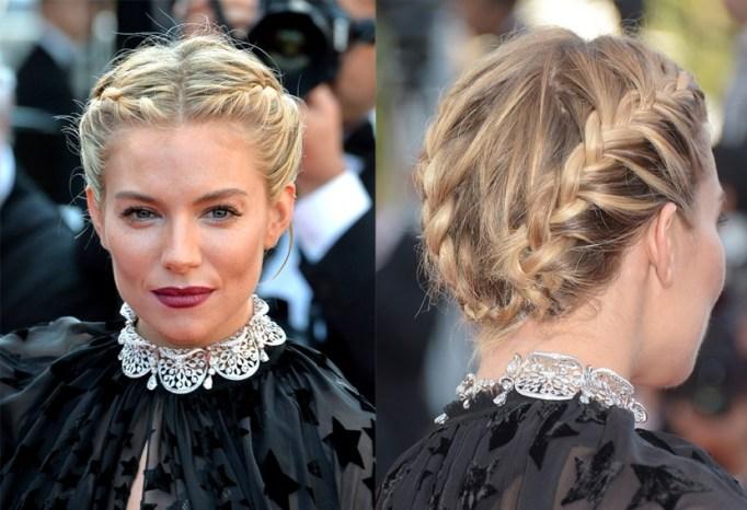 Best Celebrity French Braids: Sienna Miller's Double French Braids | Celeb Hairstyles 2017