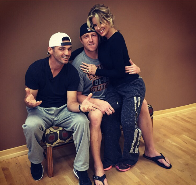 Kroy Biermann supporting Kim Zolicak during Dancing With the Stars